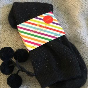 Kate Spade Cashmere Trouser Socks with Poms